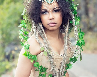 Queen of the Forest Headdress, Antler Headpiece, Nature Headband, Fawn, Costume