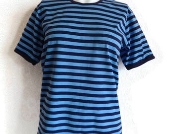 MARIMEKKO Blue & Purple Striped T- Shirt Cotton Jersey Shirt Nautical  Women's Marimekko Clothing Marimekko Tee Vintage Tee Finnish Clothing