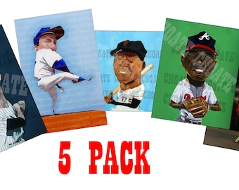 Baseball VALUE PACK - 5 PRINTS for 10 dollars Mantle, Mays, Koufax, Aaron and Casey at the Bat