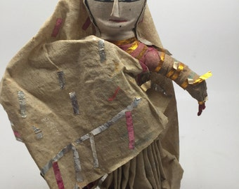 Vintage Cloth Hand Made Indian Doll With Sari Costume
