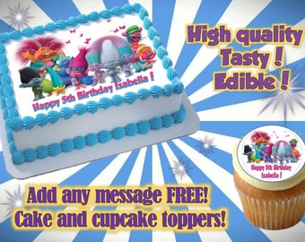 Trolls cake, cupcake & cookie toppers, edible print. Sugar sheet decoration party supplies.