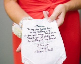 Gift for Mom Wedding Gift for Mother of the Bride Personalized Wedding Hankie Wedding Gift Mom Gifts Gifts for Mom Personalized Mom Gift