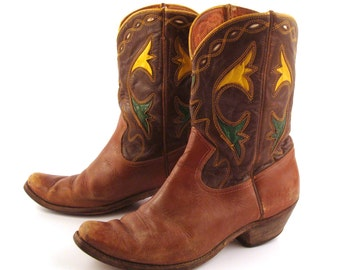 Inlay Cowboy Boots Vintage 1950s Acme Distressed 50s Brown Leather Men's 9 1/2