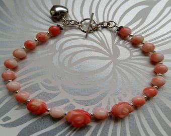 Pink Coral Bracelet with Pink Coral Roses - Pink Coral beads - sterling silver - heart charm