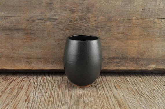Black satine glaze stoneware wine tumbler