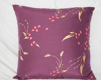 Purple Embroided Silk Dupioni Pillow Cover