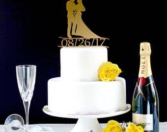 Elegant Cake Topper, Traditional Wedding Cake Topper, Silhouette Cake Topper, Wedding Date Cake Topper, Golden Cake Topper, Custom Topper