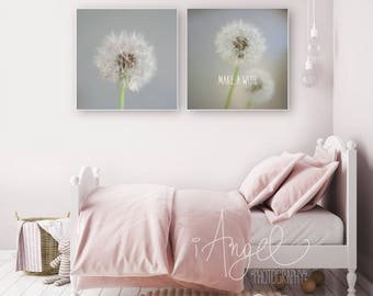 Set of 2 square posters, Quote Wall Decor, Plant Photography Prints, Prints wall art, Dandelion, Contemporary art, Digital Download  #P020