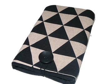 Iphone 8 pouch, Geometric black, iPhone 7 sleeve, iPhone 7 case, iPhone 6s cover, Padded iphone 8 case,  iphone 7 Pouch , Linen phone pouch