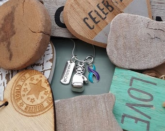 TP-5 Suicide Prevention Necklace Awareness Jewelry Domestic Violence Sexual Assault Jewelry Glove Necklace Warrior Boxing Charm Jewelry