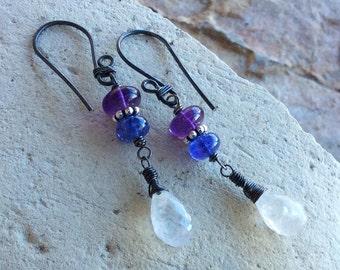 TANZANITE, AMETHYST, and MOONSTONE earrings, multi gemstone jewelry, sterling silver, handmade by Angry Hair Jewelry