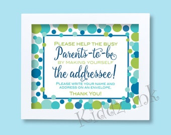 Baby Shower | Address an Envelope | Parents to Be Table Sign | Ocean Theme | Blues Aquas Greens | 8 x 10 | Printable | INSTANT DOWNLOAD