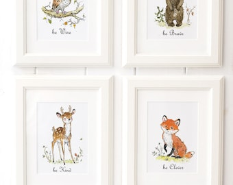 Woodland Animals Print set of 4  - Woodland Nursery Art - Nursery decor - Forest Nursery Art - be wise - be kind - be clever - be brave