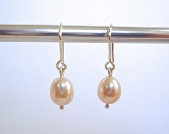 Soft pink pearl earrings, Sterling silver wires, Simple freshwater pearl earrings, Small pink pearl drops, Valenitne's Day gift for her