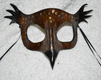 Leather owl mask with feathers - Screech owl inspired - this one available now