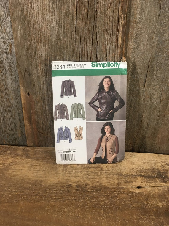 Simplicity 2341, misses jackets sewing pattern from 2010, uncut jacket sewing pattern, jacket size 6-14, super cute sewing pattern