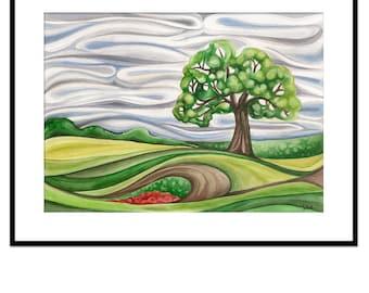 landscape watercolor, tree painting, original artwork, surreal art, painting in frame, nature decor