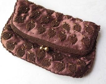 1950s Beaded Purse Clutch Evening Bag Copper Brown Hand Beaded Hong Kong Retro Fashion Elegant Leaf Design Wedding Purse Birthday Gift