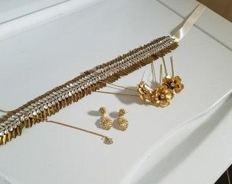 Vintage Inspired -Golden Bridal Sash Wedding Accessory