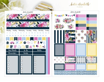 Mini HP Navy Floral Undated Monthly Kit | Planner Stickers