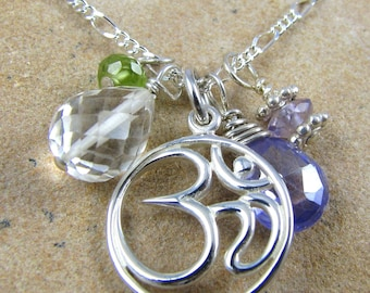 Yoga Jewelry Om Pendant Necklace Sterling Silver Gemstones