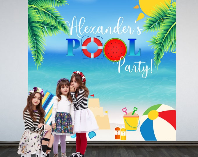 Featured listing image: Pool Party Personalized Photo Backdrop -Summer Photo Backdrop- Tropical Birthday Party Backdrop - Beach Party Birthday Backdrop