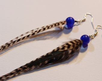 Earrings feathers and blue glass beads