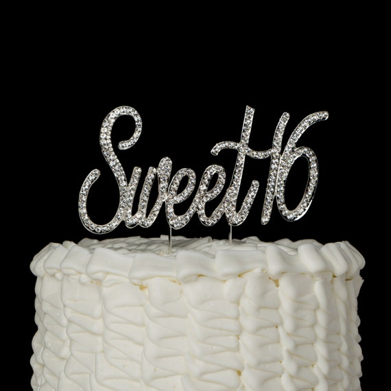 Sweet 16 Cake Topper 16th Birthday Silver Rhinestone Number