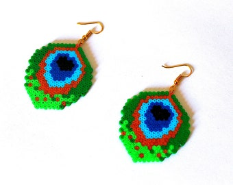 Earrings - Peacock feather