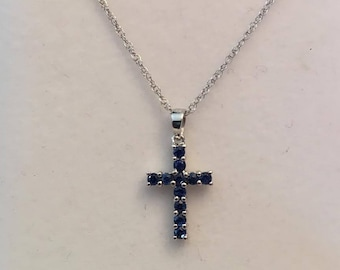 """Vintage 14k white gold Small Cross Pendant, 11 Round Blue Sapphires, .55 tw, on a 16"""" Chain"""
