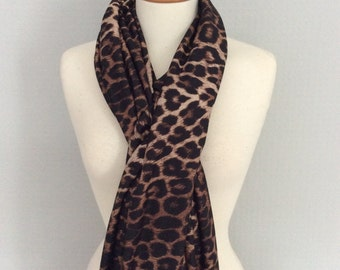 Animal and leopard print scarf