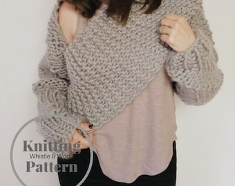 Knitting Pattern, The Kent Wrap,Adult SM-XL sizes on pattern,chunky wool, picture tutorial,  by Whistle and Wool