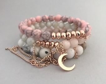Pink Opal Rose Gold Bracelet Stack, Austen Rose Gold Bracelet 3 Stack, 18K Rose Gold Bracelets, Rose Gold Jewelry, Moon Charm Bracelet