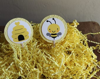 Bubble Bee Theme Cupcake Toppers/Set of 12