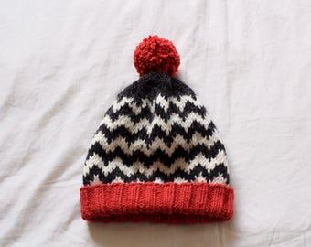 Twin Peaks Knit Beanie Hat // Black Lodge Red Room Chevron