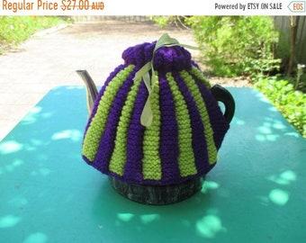 AUF Verkauf Vintage Tee gemütlich - grün und lila Streifen - Vintage-Stil für Ihre Teekanne.