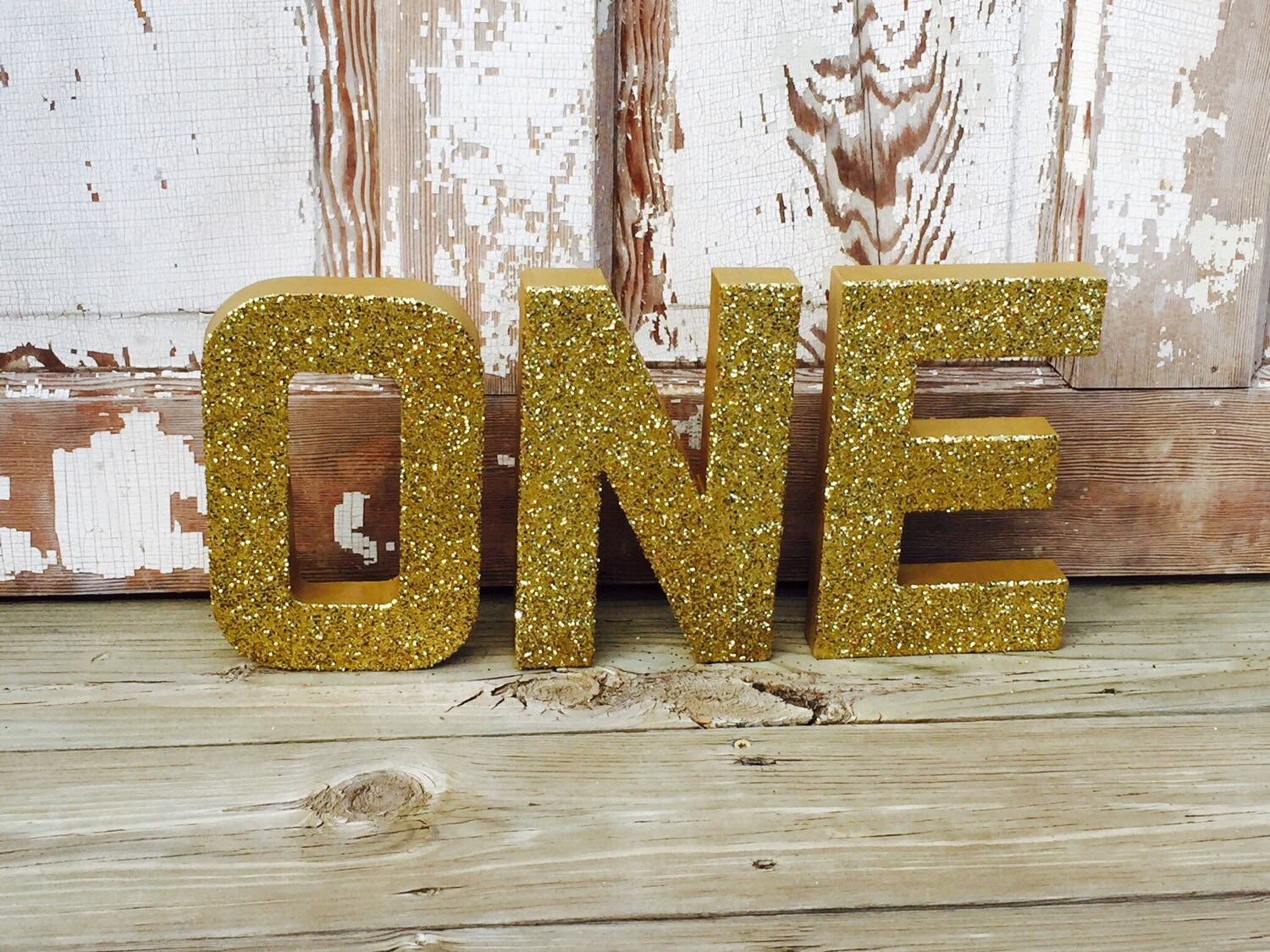 8 Gold Glitter ONE Stand Up Decorative Birthday Letters
