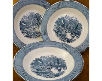 Currier and Ives Rimmed Soup Bowls by Royal China Co - Set of 3