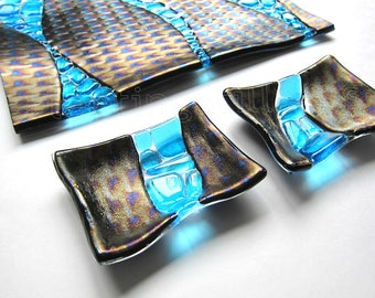 River Pebbles Sushi Set Fused Glass Platter with soy Sauce Dishes Black Blue Handmade