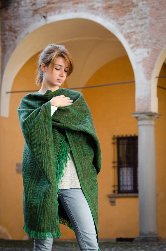 fringe With Silk Mohair Handwoven Cashmere poncho Wool size Handwoven Blanket Ruana Unisex One Poncho Herringbone cape pattern qZ76a6g