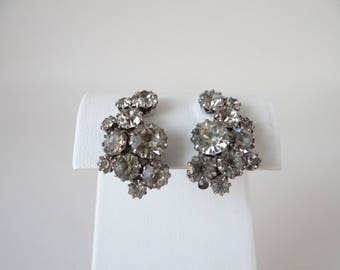 Vintage Weiss Faceted Rhinestone Clip Earrings on a Silver Tone Setting - Vintage Earrings - Vintage Weiss Earrings - Rhinestone Earrings