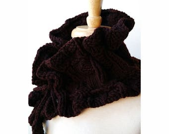 Victoriana Merino Wool Hand Knit Scarflette in CHOCOLATE BROWN, Scarf, Collar, Berry, Fuchsia, Ruffle, Women, Romantic, Elegant, Victorian