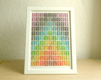 Rainbow Postage Stamp Art | Framed 8x11 Multicolor Collage Art A4 Office Desk Art | Chakra Chevron Wall Art | Upcycle Art Retro Hipster Gift