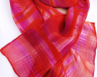 silk scarf hand painted chiffon Hot Plaid unique long pink orange raspberry wearable art women