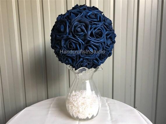 Navy Blue Wedding Centerpieces Flower Kissing Ball Dark Blue