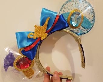 Aladdin Jasmine Genie - clear Ears - glitter ears - minnie ears - Walt Disney World - - disney ears