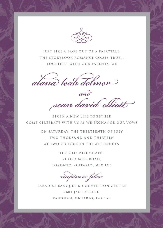 Printable Wedding Invitation - Purple Grey Flourish Wedding ...