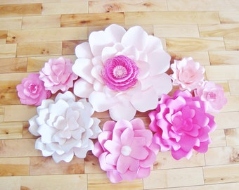 Set of 8 Paper Flowers - Baby Nursery Decor | Paper Flower Backdrop | Paper Flower Wall for Nurseries | Wall art for Home Decor