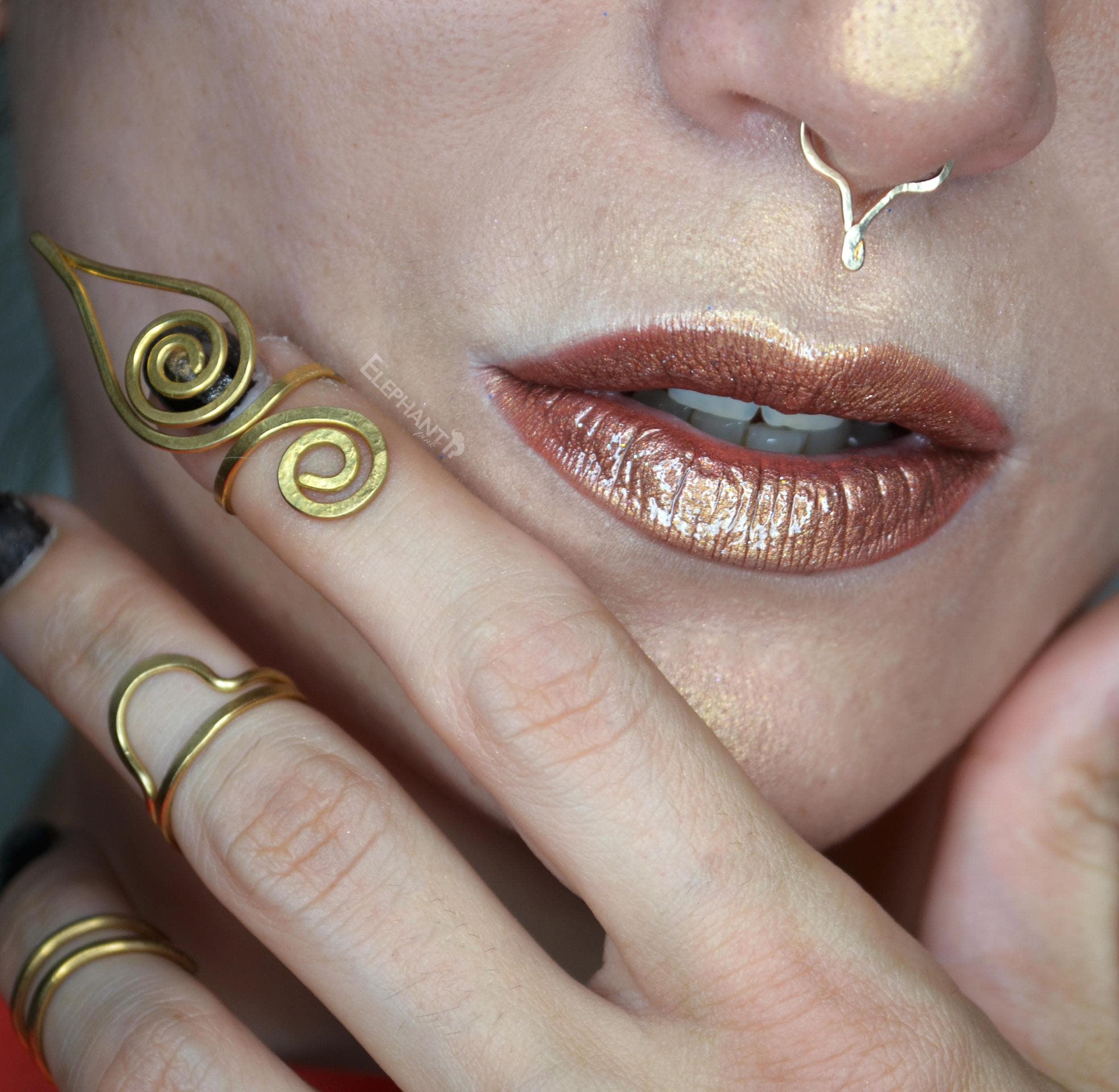 Deer Antlers Faux Septum Ring Gold Fill Nose Ring Septum