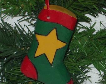 Hand Carved Christmas Ornament - Christmas Sock with Star